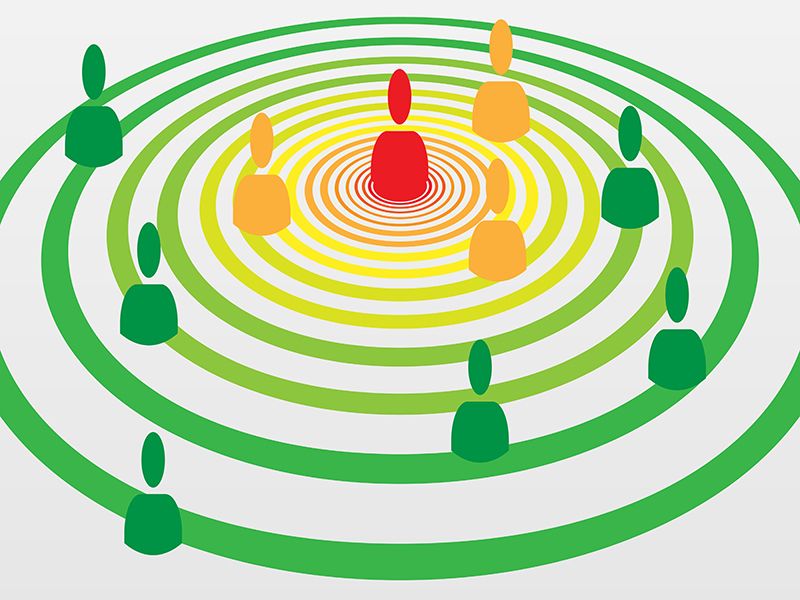 People silhouette symbols in concentric circles concept with Covid-19 contact tracing system